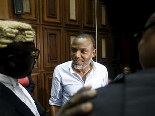 Indigenous People of Biafra (IPOB) leader Nnamdi Kanu seen at the Federal high court Abuja, Nigeria