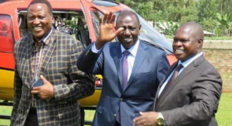 File image of Kitutu Chache MP Richard Onyonka (left) with DP William Ruto and Kisii County Deputy Governor Joash Maangi