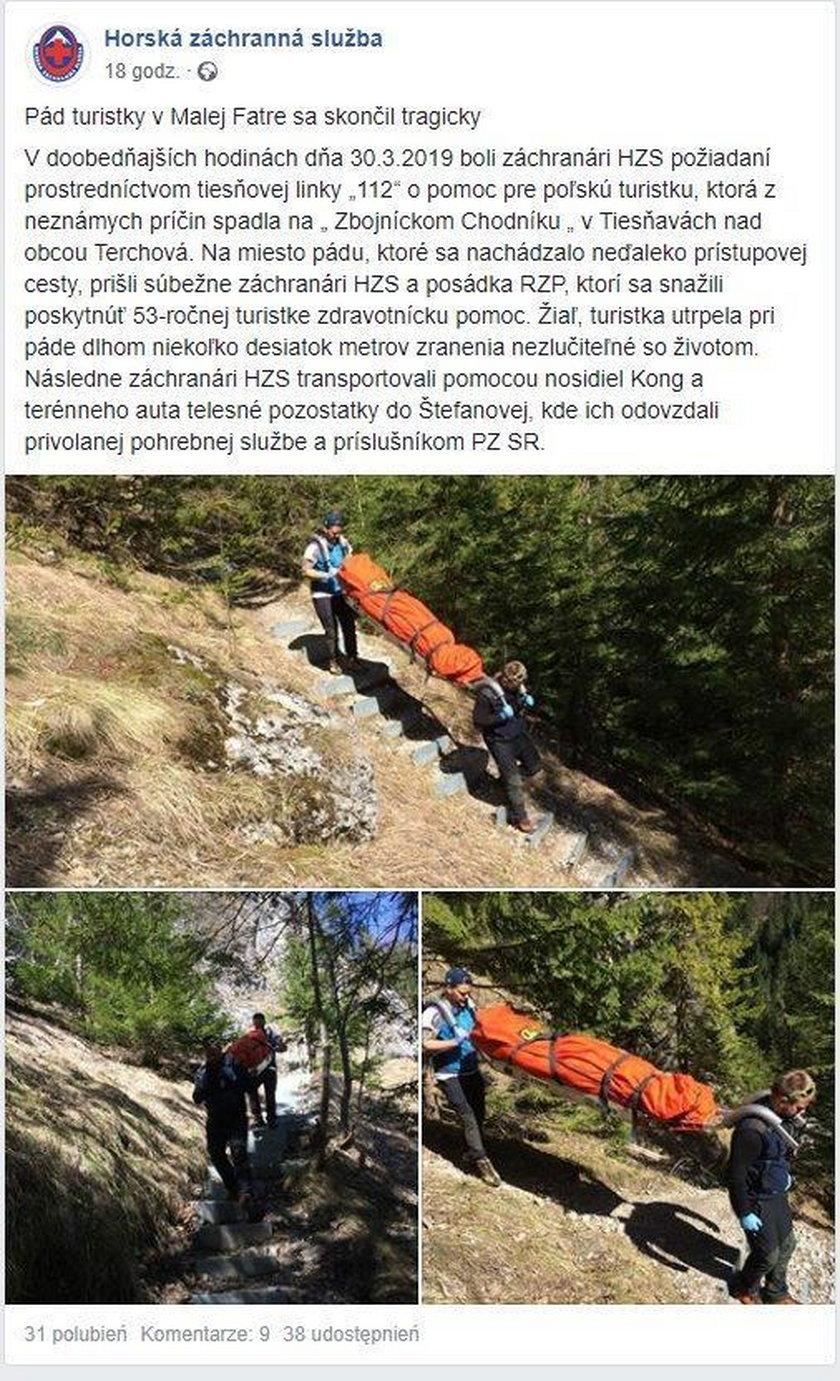 Tragedia w słowackich Karpatach. Nie żyje turystka z Polski