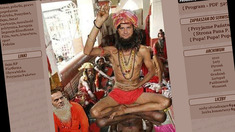 Palikot jako hinduski jogin czci Sziwę