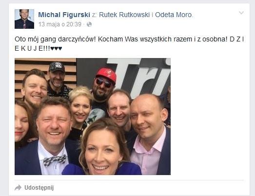 Michał Figurski dziękuje darczyńcom