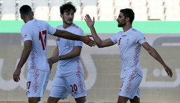 Sardar Azmoun (C) picture here during a friendly against Syria, scored the only goal in his country's win over Iraq Creator: STRINGER