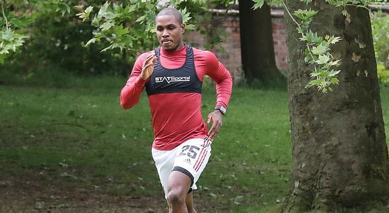 Manchester United striker Odion Ighalo trains in public park ahead of possible Premier League restart
