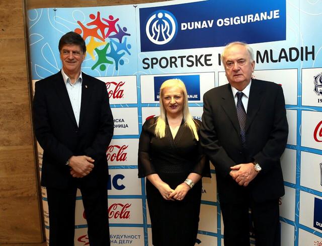 Potpredsednik OKS Žarko Zečević, predsednica SIM Ivana Jovanović i Božidar Maljković, prvi čovek Olimpijskog komiteta Srbije