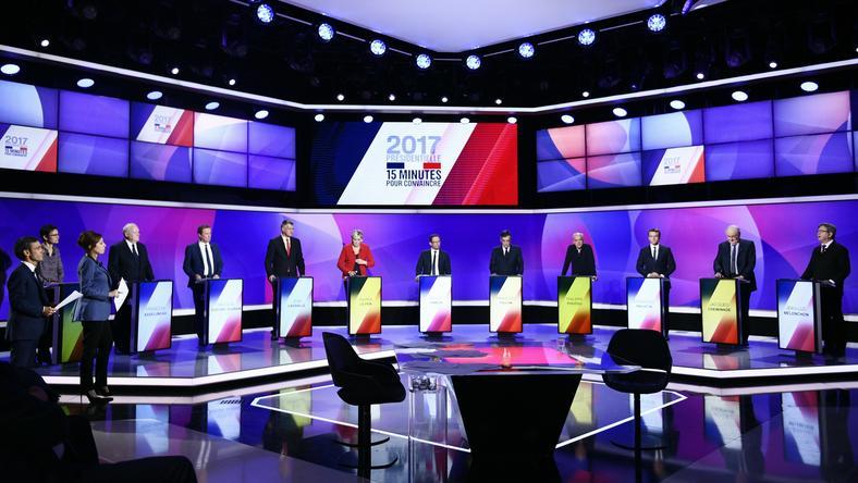 W wyborach prezydenckich 2017 we Francji bierze udział 11 kandydatów - na zdjęciu politycy w trakcie debaty