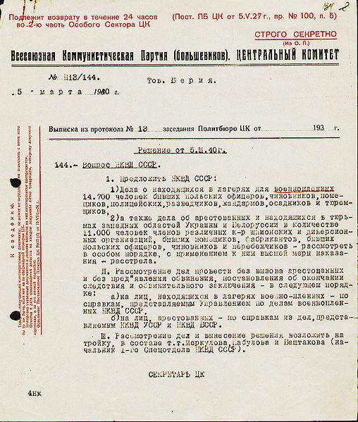Katyń, zbrodnia katyńska. Wyciąg z protokołu nr 13 posiedzeń Biura Politycznego - Decyzja w sprawie wymordowania polskich jeńców wojennych i więźniów