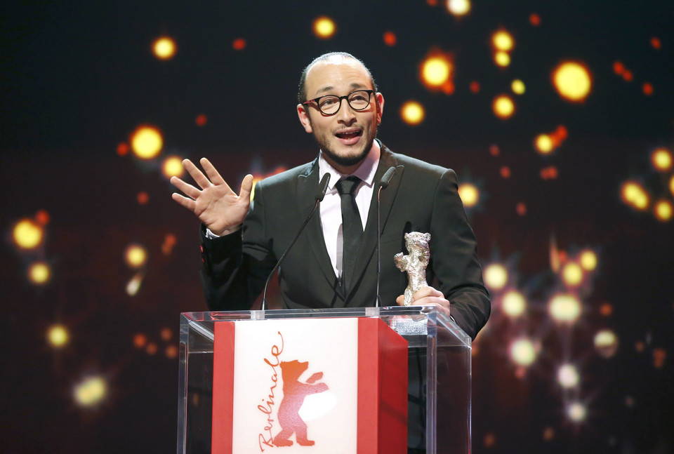 Rym Ben Messaoud receives Silver Bear award for Best Actor during awards ceremony at 66th Berlinale International Film Festival in Berlin
