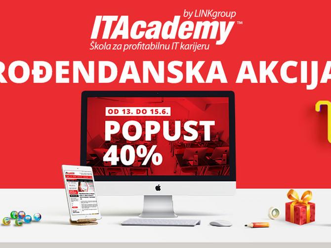 Velika rođendanska akcija na ITAcademy: 40% popusta za prijave do petka