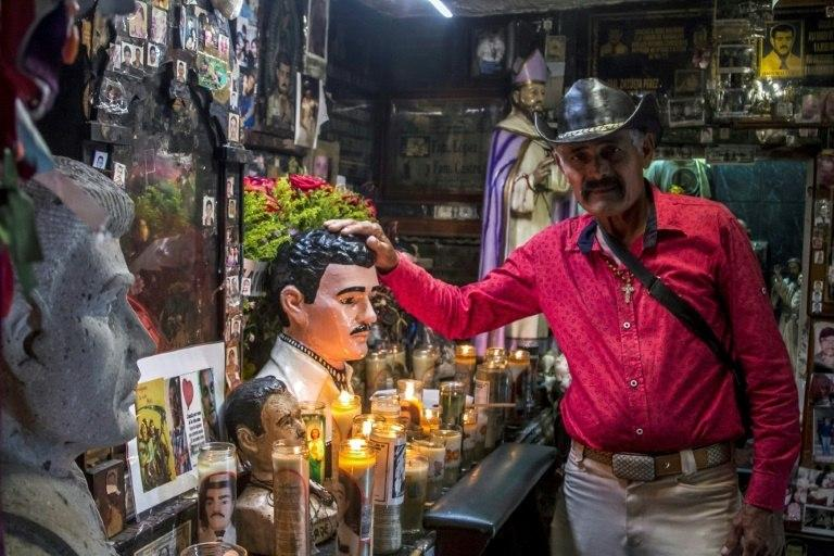 "A chapel dedicated to Jesus Malverde, the so-called ""narco saint"" -- a folk hero who, according to legend, stole from the rich to give to the poor in early 20th-century Sinaloa"