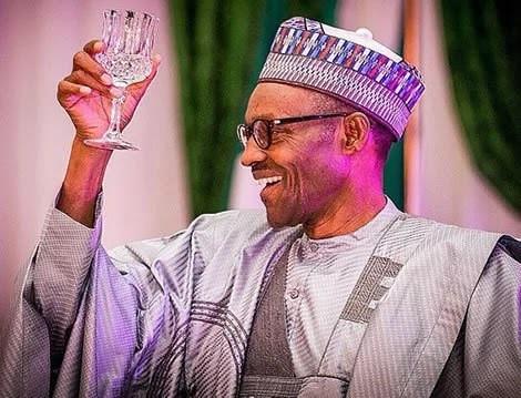 President Muhammdu Buhari at a dinner event (Presidency)