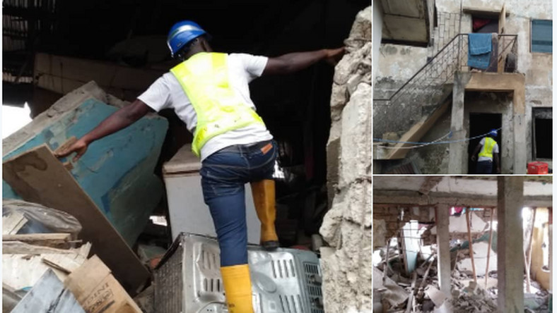 Another building collapsed in Oshodi, two people trapped. (LASEMA/Twitter)