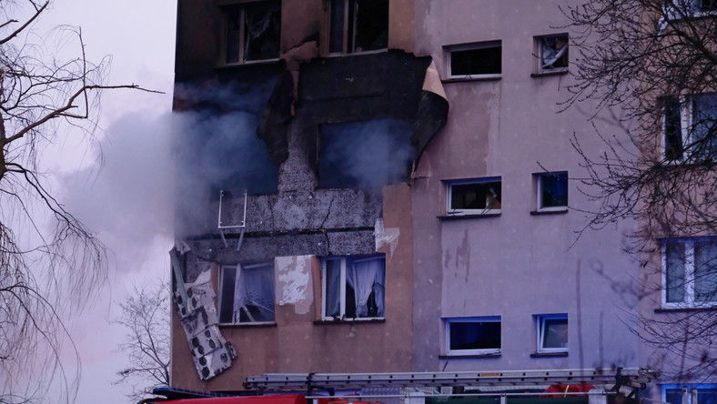 Akcja straży pożarnej na miejscu wybuchu