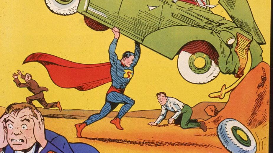 Okładka komiksu z 1938 r. W tym numerze po raz pierwszy pojawiła się postać Supermana