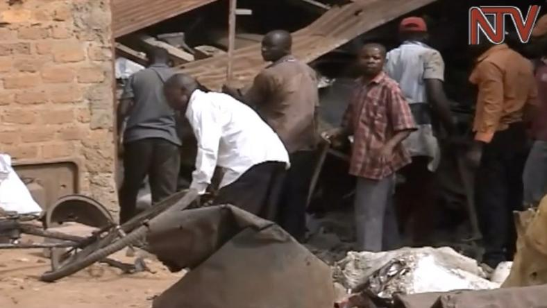 A screen grab from NTV Uganda of a destroyed scrap house