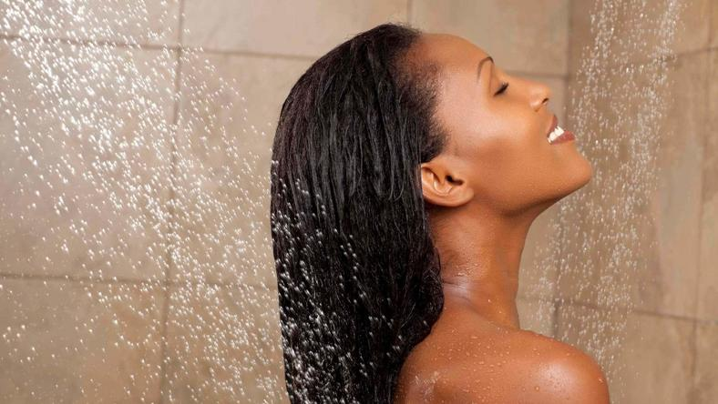 Black woman showering  (all things hair)