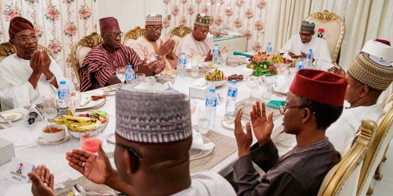 President Buhari breaks fast with State Governors at the presidential villa (The Nation)