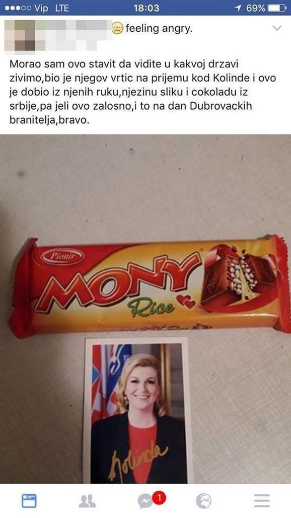 Sporna čokolada i fotografija hrvatske predsednice