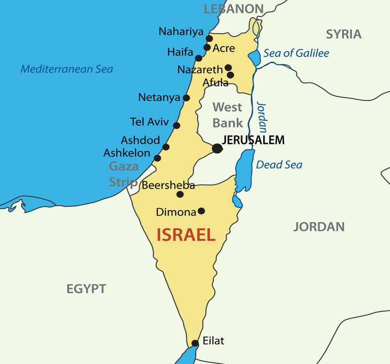 Bliski Wschód. Na mapie: Izrael, Zachodni Brzeg, Strefa Gazy, Egipt, Jordania i Syria