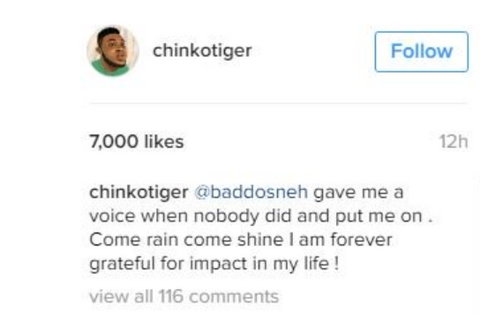 Chinko Ekun shows gratitude to Olamide. (Information Nigeria)