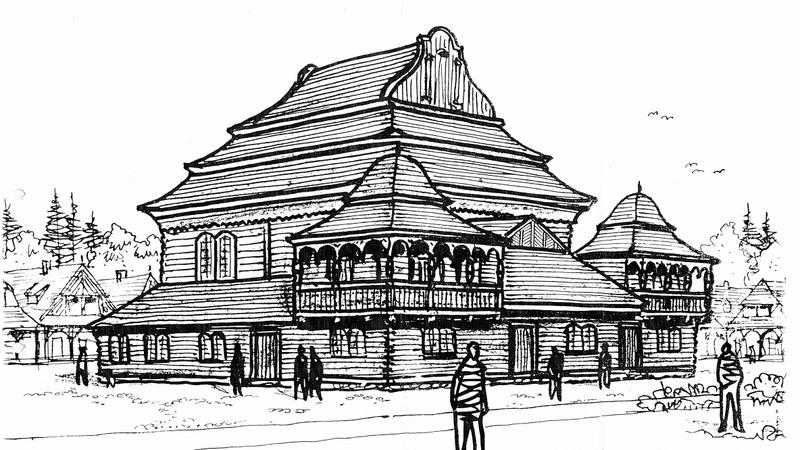 Replika drewnianej synagogi w Wołpie wybudowana w Biłgoraju