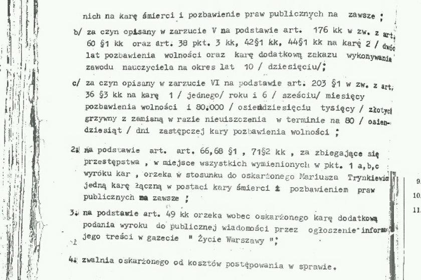 Dokumenty z wyroku Trynkiewicza