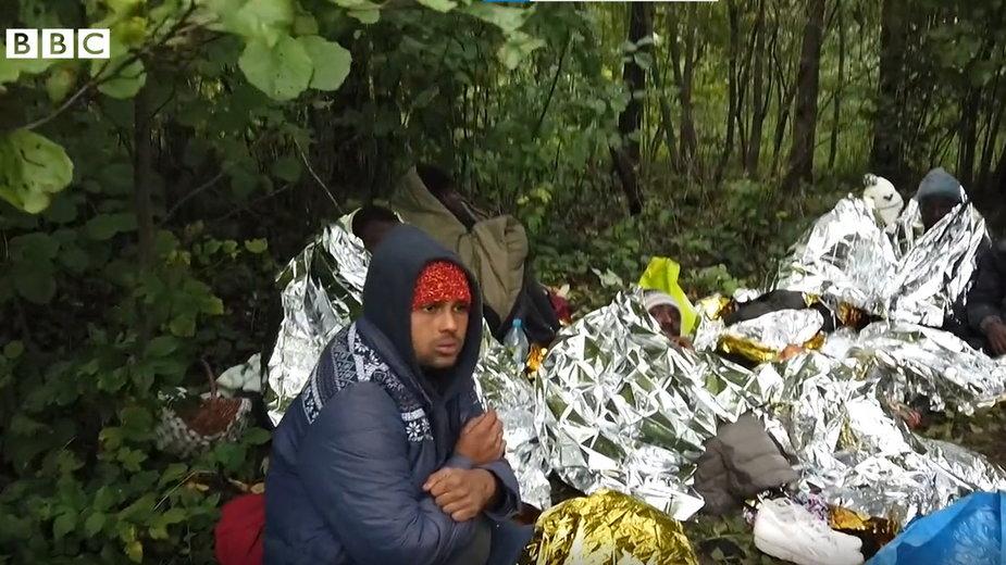 Migranci w lesie w pobliżu granicy polsko-białoruskiej