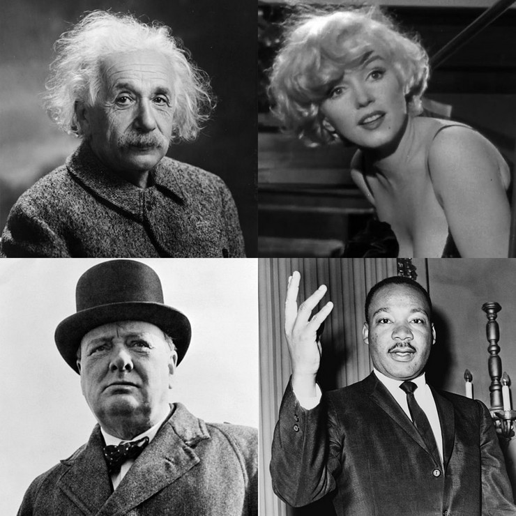 Ajnštajn, Monro, Martin Luter i Čerčil