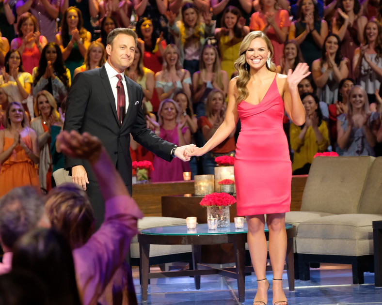 Chris Harrison with Hannah Brown at the season 15 Bachelorette finale.