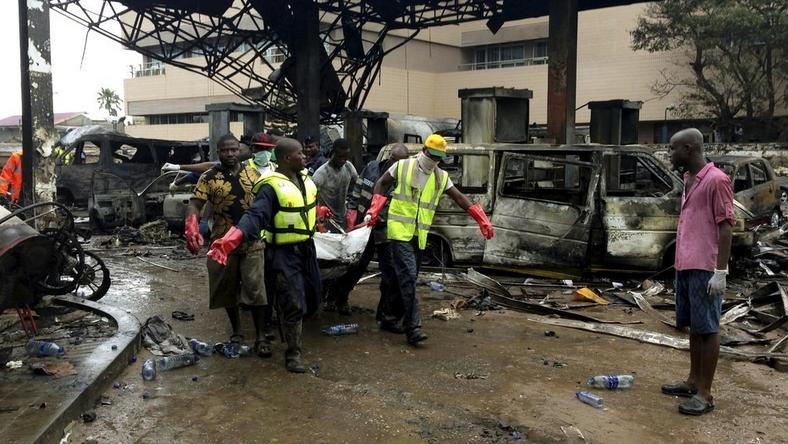 Scene of a gas station explosion in Ghana