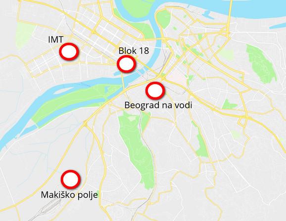 Mapa gde će se nalaziti nova naselja