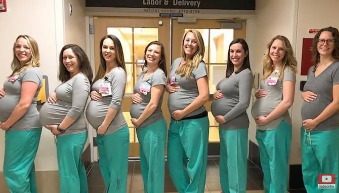 Devet trudnica u isto vreme! Vau!