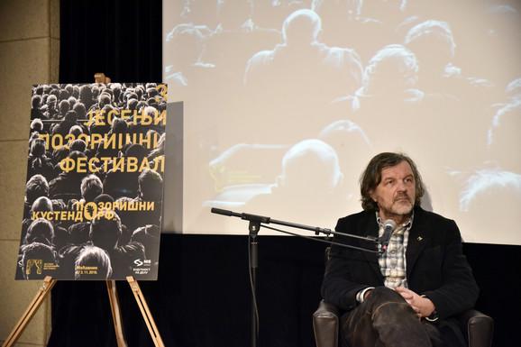 Emir Kusturica na radionica posvećanoj odnosu filma i pozorišta održanoj na Trećem jesenjem pozorišnom festivalu