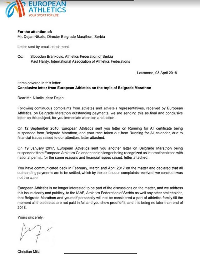 Pismo Evropske atletske federacije kojim se potvrđuje da je Beogradskom maratonu oduzet sertifikat