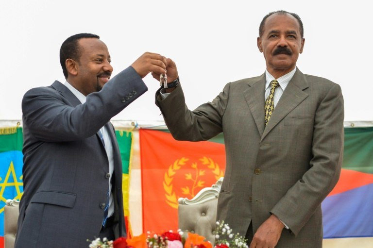 Time to celebrate: Ethiopian Prime Minister Abiy Ahmed, left, and Eritrean President Isaias Afwerki reopened the Eritrean embassy in Addis Ababa on July 16