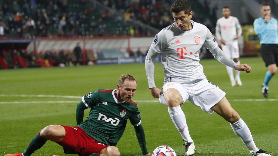 Robert Lewandowski w meczu z Lokomotiwem Moskwa