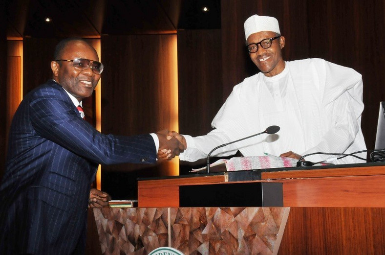 Ibe Kachikwu and President Buhari when he was handed the job on the Buhari cabinet (Presidency)