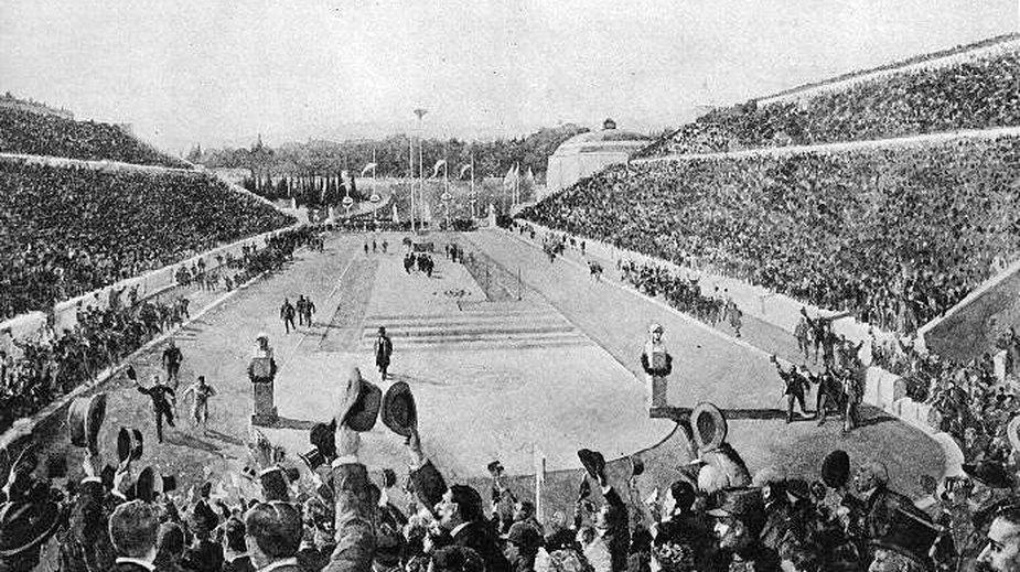 Stadion Panateński w trakcie finiszu maratonu w 1896 roku