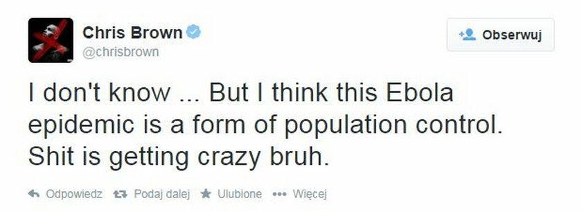 Wpis Chrisa Browna na twitterze