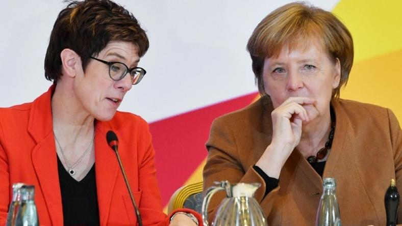 CDU Secretary General Annegret Kramp-Karrenbauer (L) is widely seen as Angela Merkel's anointed crown princess, although Merkel herself has shied away from publicly naming her preferred successor