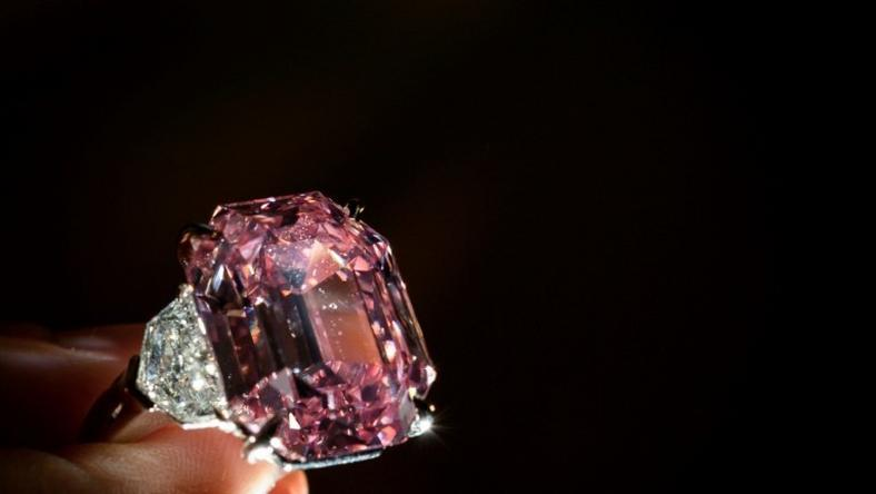 The Pink Legacy, a 18.96 carat fancy vivid pink diamond, was once owned by the Oppenheimer family