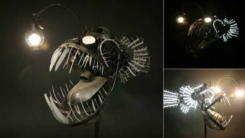 Makabryczna lampa w kształcie rybiej paszczy