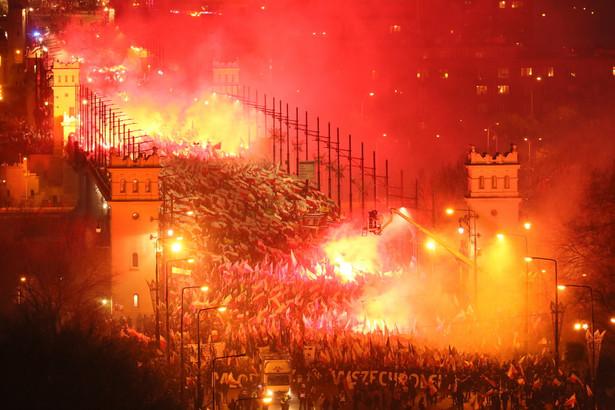 Marsz Niepodległości na Moście Poniatowskiego