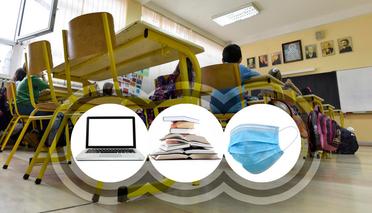 knjige maske laptop skola RAS Snezana Krstic Shutterstock