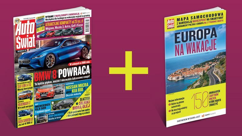 """Mapa Europy w nowym wydaniu tygodnika """"Auto Świat"""""""
