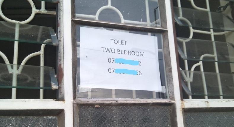 A poster advertising a vacant house for rent in one of Nairobi's residential estates (Twitter)