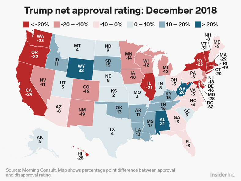 Map Shows How Much Trump S Approval Ratings Have Changed In Each