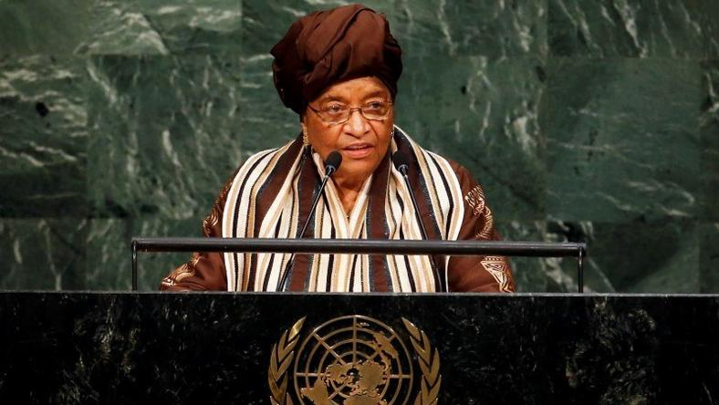 President of Liberia Ellen Johnson-Sirleaf addresses attendees during a plenary meeting of the United Nations Sustainable Development Summit at the United Nations Headquarters in Manhattan, New York September 25, 2015. REUTERS/Andrew Kelly