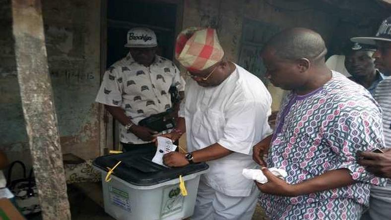 Ademola Adeleke casting his vote during the Osun West bye-election.