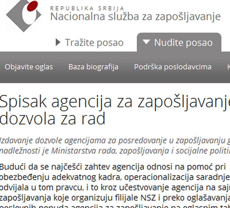 Nacionalna služba za zapošljavanje, akreditovane agencije