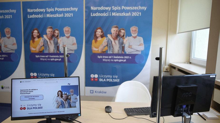 Stanowisko do Spisu Powszechnego w siedzibie Urzędu Statystycznego w Krakowie